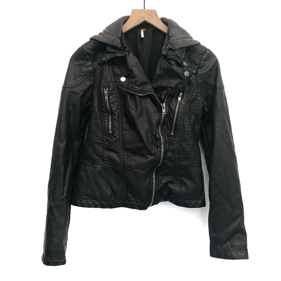 Free People Jackets & Blazers - Free People Black Faux Leather Jacket - Size 4